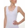 Women No-Sleeve Shirt Motif White